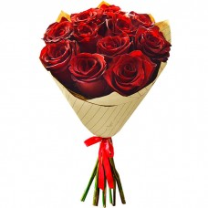 Букет Красные розы в крафте из 11 р...